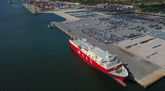 Imagem Porto de Setúbal, navio atracado