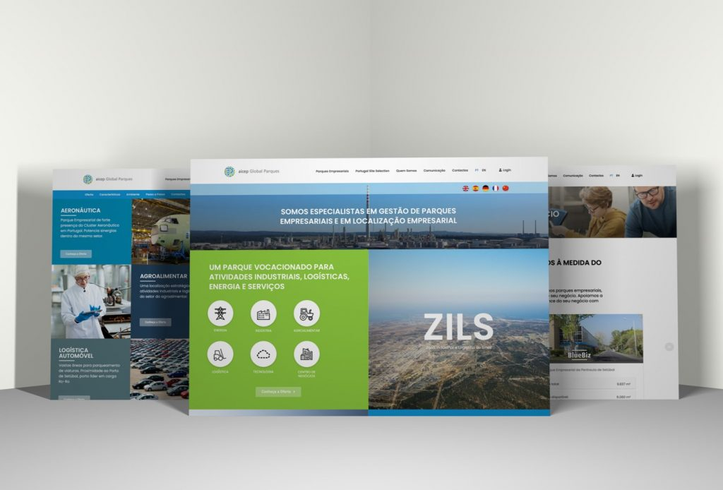 aicep Global Parques new website - image of the parks under management - ZILS, BlueBiz and Albiz, and Portugal Site Selection - platform that helps investors to find the best place in Portugal for their business